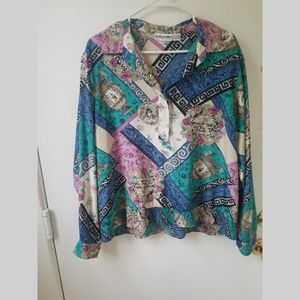 1970s Collared Silky Blouse